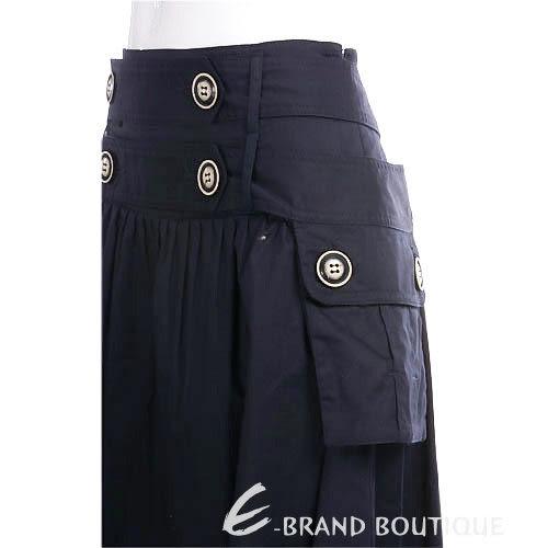 PAOLA FRANI 深藍色鈕釦造型口袋及膝裙 0910213-34