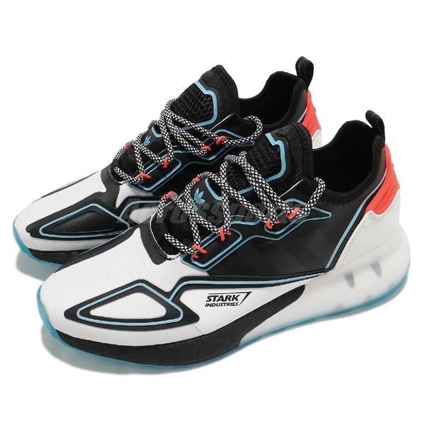 adidas 休閒鞋 ZX 2K Boost Marvel 斯塔克工業 鋼鐵人 白 黑 藍 男鞋【ACS】 H02561