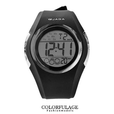 完美流線設計電子錶 防水高達100米 低調全黑配色 JAGA捷卡 柒彩年代【NE1001】原廠公司貨