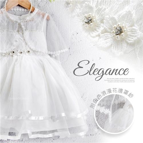 夢幻公主白紗禮服洋裝-附披肩-畢業典禮音樂會比賽(270656)【水娃娃時尚童裝】