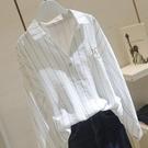 100%純棉套頭條紋襯衫女秋季新款韓版繡花寬松顯瘦港風長袖襯 快速出貨