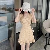 夏季2021新款法式洋裝V領泡泡短袖初戀碎花裙氣質洋裝女神范
