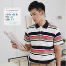 【大盤大】(P86108) 男 台灣製 短袖口袋上衣 夏 涼感POLO衫 薄款 透氣休閒棉T 條紋保羅衫【剩M號】