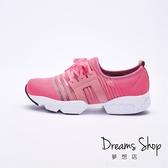 大尺碼女鞋-夢想店-MIT台灣製造簡約風透氣網布假綁帶休閒鞋3.5cm(41-45)【JD8108】-桃紅色