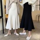 秋冬2020年新款女黑色針織魚尾a字半身裙高腰顯瘦包臀裙中長裙子 童趣屋