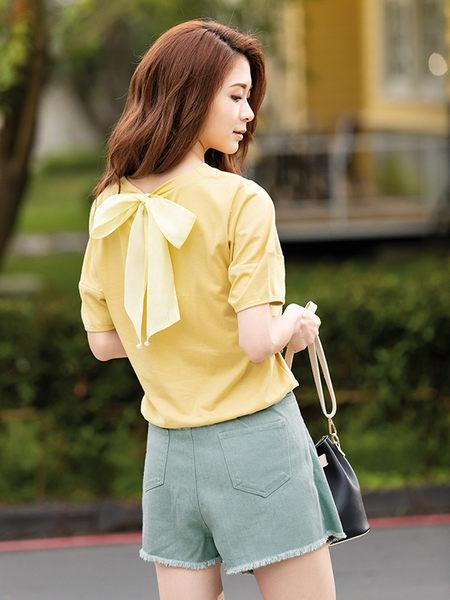 單一優惠價[H2O]立體袖型背後可拆裝飾大蝴蝶結針織上衣 - 黃/綠/白/淺紫色 #9681004