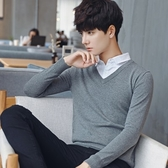 針織毛衣-V領純色純棉修身假兩件男針織衫4色73pg5【巴黎精品】