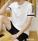 短袖T恤男夏季韓版潮流休閒運動套裝男半袖衣服跑步運動服短褲男『潮流世家』