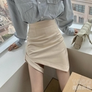 高腰a字毛呢半身裙女顯瘦性感冬季 厚緊身不規則包臀短 洛小仙女鞋