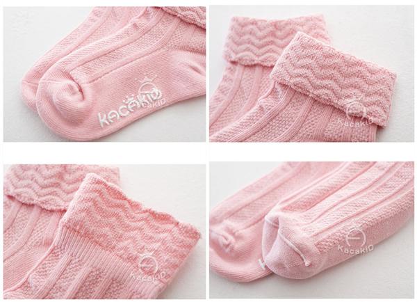 [韓風童品] kacakid雙針波浪紋翻口兒童防滑點膠襪 男女童嬰幼兒寶寶 全棉素色 兒童襪子