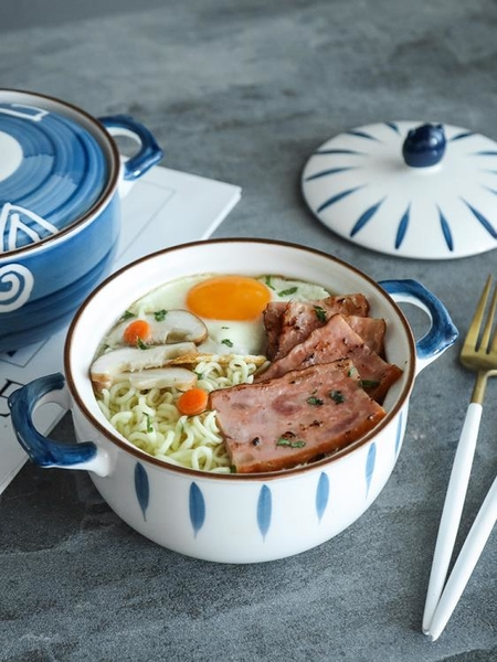 泡面碗帶蓋陶瓷家用碗單個學生宿舍日式創意湯碗拉面碗面碗 果果輕時尚