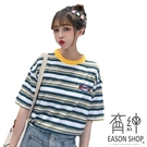 EASON SHOP(GW2766)實拍經典撞色橫條紋字母刺繡薄款短版圓領短袖T恤女上衣服寬鬆內搭衫顯瘦棉T恤
