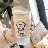 可愛綿羊簡約磨砂玻璃杯咖啡牛奶早餐杯子水杯帶勺品牌【小桃子】