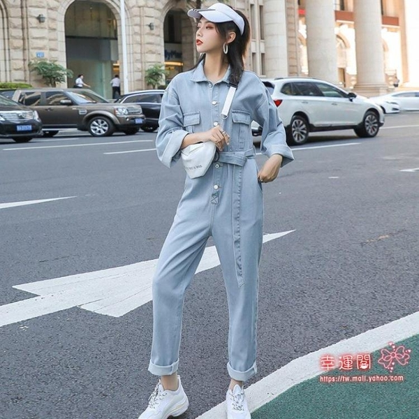 連身褲裝 牛仔連身褲套裝女2020新款春秋韓版寬鬆顯瘦高腰bf工裝網紅連身褲 S-L