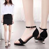 涼鞋 新款韓版女貓跟小清新高跟鞋細跟一字扣百搭性感 GB4730『樂愛居家館』
