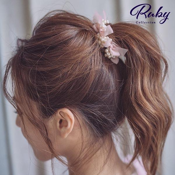 髮飾 韓國直送‧珍珠蝴蝶結髮圈-Ruby s 露比午茶
