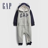 Gap嬰兒 Logo仿羊羔絨開襟包屁衣外套 599522-淺灰色