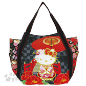 〔小禮堂〕Hello Kitty 帆布托特包《L.黑紅.和風.太鼓橋.牡丹.和服》手提包.肩背包.外出包 4582135-12892
