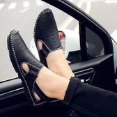 男士涼鞋新款真皮夏季男裝涼皮鞋潮休閒透氣開車鞋鏤空韓國時尚週