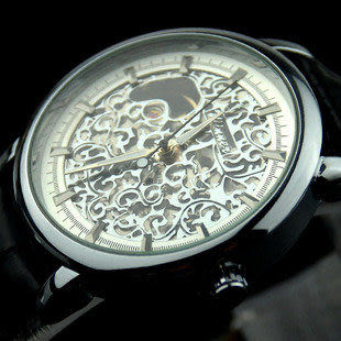 男士手錶皮帶透底鏤空機械錶