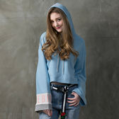 DADA SUPREME 寬袖甜美運動帽T-女-藍