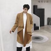 時尚領子設計男士中長款風衣外套