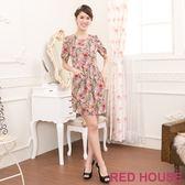 【RED HOUSE-蕾赫斯】滿版花朵修身打褶洋裝(共二色)
