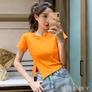 不規則短款t恤女夏2021新款韓版修身百搭氣質單排扣短袖上衣潮ins 蘿莉新品