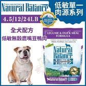 『寵喵樂旗艦店』Natural Balance 低敏單一肉源《無穀鷹嘴豆鴨肉全犬配方》4.5LB