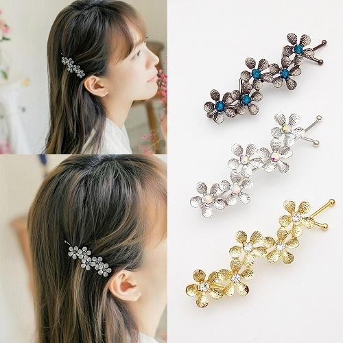 【NiNi Me】 韓系髮飾 氣質甜美金屬質感花朵水鑽扭夾髮夾 髮夾 H9202