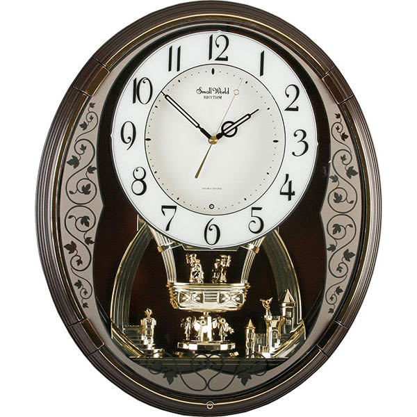 RHYTHM日本麗聲 皇家夢幻音樂報時掛鐘-白x咖啡色框/33cm 4MH853
