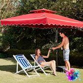 戶外遮陽傘戶外傘庭院傘雨傘折疊大型沙灘太陽傘擺攤傘方保安崗亭【618好康又一發】JY