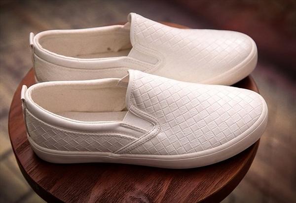 正韓國 編織 白鞋 黑鞋 懶人鞋 黑皮 皮革