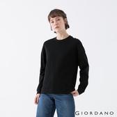 【GIORDANO】 女裝純棉落肩上衣 - 09 標誌黑