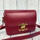 BRAND楓月 CELINE TEEN TRIOMPHE 188423 梅紅色 皮革 經典 凱旋門 金屬 肩背包 側背包