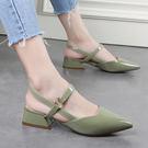 平底包頭涼鞋 女尖頭粗跟鞋【多多鞋包店】z1655