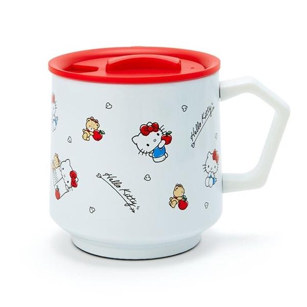 小禮堂 Hello Kitty 保溫馬克杯 附蓋 350ml (白滿版款) 4550337-03371