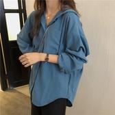 長袖襯衫 慵懶風初秋復古藍色長袖襯衫新款寬鬆簡約休閒開衫外套上衣女  poly girl