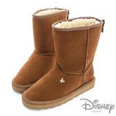 Disney 後側蝴蝶結 中筒雪靴-棕(女)