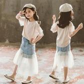童裝女童夏季時尚套裝裙2020年新款小女孩牛仔紗裙甜美洋氣兩件套 yu13468【棉花糖伊人】