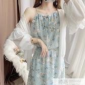甜美小清新碎花裙吊帶洋裝雪紡衫套裝裙兩件套沙灘度假長裙子夏 夏季新品