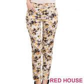 【RED HOUSE-蕾赫斯】修身滿版花紋窄管褲(金黃色) 零碼出清,滿499元才出貨