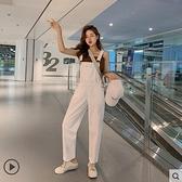 減齡白色吊帶褲女新款韓版寬鬆直筒學生黑色泫雅風牛仔吊帶褲 極簡雜貨