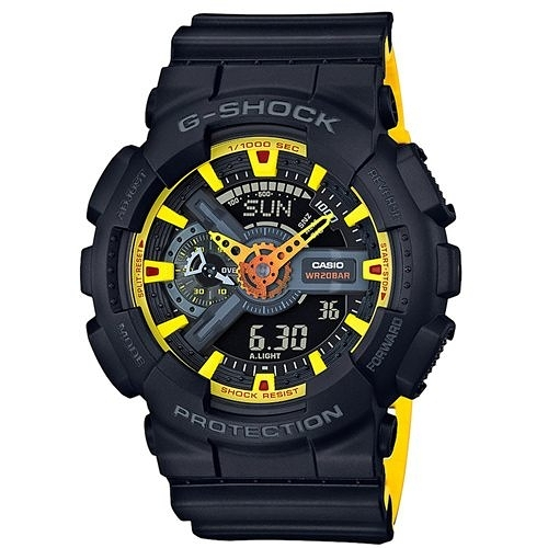 CASIO 卡西歐 G-SHOCK Yellow Accent Series系列反轉液晶雙色錶帶酷炫腕錶GA-110BY-1ADR