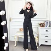2018新款女裝春裝長袖條紋闊腿褲連體褲