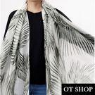 OT SHOP防曬空調絲巾‧ 氣質時尚 梠莫蘭迪色調 燙銀流蘇設計 棉質圍巾披肩 墨綠棕梠 現貨 D8002