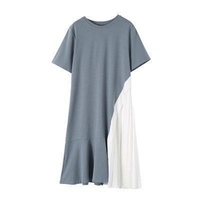 裙子 洋裝M-4XL實拍中大碼女裝 純棉拼接雪紡連衣裙中長款顯瘦短袖裙3F108.8036胖胖唯依
