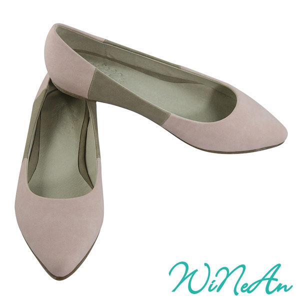 WINEAN薇妮安-雙色拼布平底休閒鞋(淺粉紅&淺灰)-WNA-1002