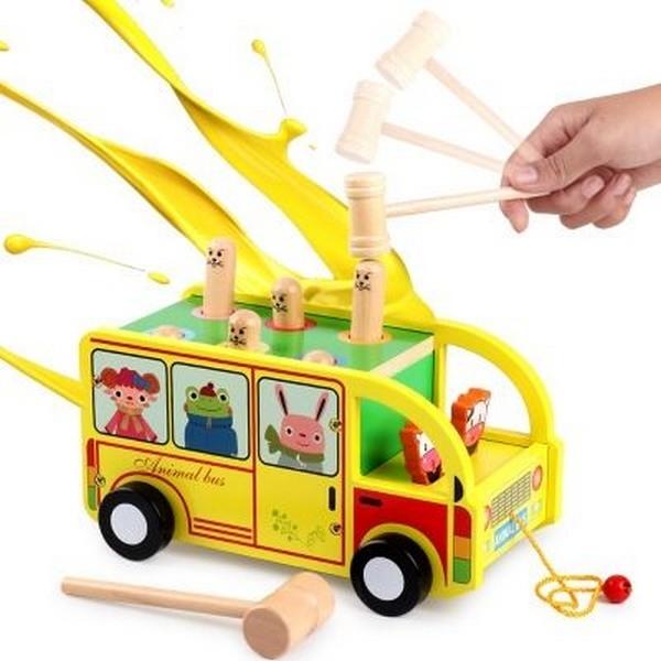木製打地鼠巴士車 GB-6675(盒裝)/一組入(促600) 拖拉動物車打地鼠 敲擊玩具 益智遊戲-YF16113