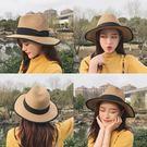 草帽女夏天休閒百搭韓版禮帽子遮陽帽可折疊沙灘帽度假防曬漁夫帽